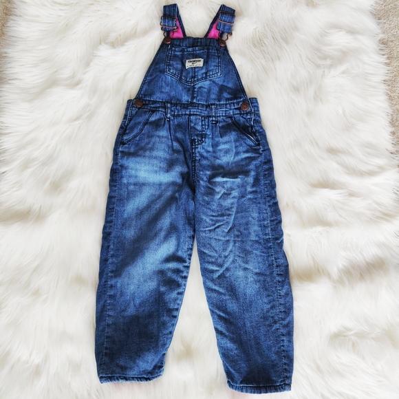 Osh Kosh pink fleece lined denim overalls 3T
